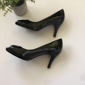 COLE HAAN Nike Air black patent peep toe pumps